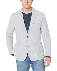 Goodthreads Marchio Amazon - , blazer da uomo in seersucker, vestibilità standard, White/Blue, US M (EU M)