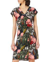 Mexx Sleeveless Tropical Printed Dress with Belt Abito Casual - Verde