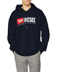 DIESEL S-division Felpa Navy Hooded Sweatshirt - Blue