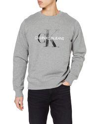 Calvin Klein Iconic Monogram Crewneck Felpa - Grigio