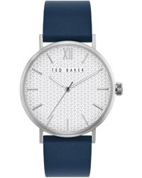 Ted Baker Phylipa S Watch With Silver Dial And Blue Leather Strap Bkppgs001 - White