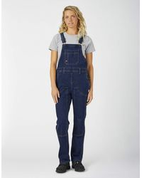Dickies Denim Double Front Bib Overalls - Blue