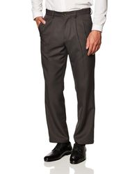 Amazon Essentials Expandable Waist Classic-fit Pleated Dress Pants - Gray