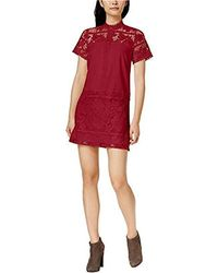 Kensie Striped Floral Lace Dress - Red