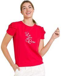 Naf Naf Maglietta rossa a maniche corte da donna rosso S