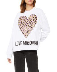 Love Moschino Sweatshirt_Animalier Printed Heart&Logo Sweat-Shirt - Blanc