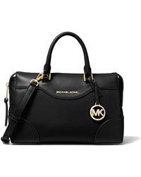 Michael Kors Michael Maya Medium Pebbled Leather Satchel Bag - Black