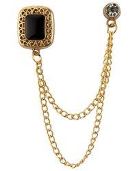 HIKARO Square Black Stone With Gold Engraving Hanging Chain Stone Detaling Lapel Pin - Metallic