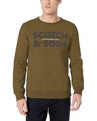 Scotch & Soda Scotch And Soda Ams Blauw Graphic Sweat in Regular Fit, Felpa Uomo, Verde (Military Green 0J), Large