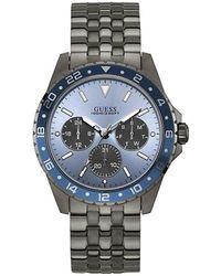 Guess 44mm Grey Steel Bracelet & Case Quartz Blue Dial Watch W1107g5 - Multicolour