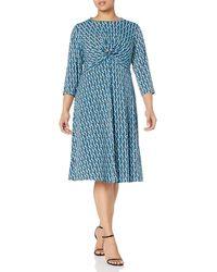 Donna Morgan - Plus Size 3/4 Sleeve Knot Fron Stretch Knit Jersey Midi Dress - Lyst