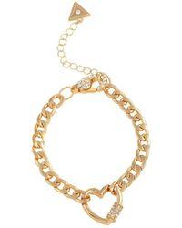 Guess Link Pave Heart Bracelet - Metallic