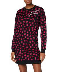 Love Moschino - Allover Kisses Long Sleeve Knitted Dress Robe, - Lyst