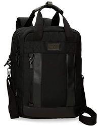 """Pepe Jeans Allblack Sac à dos adaptable pour ordinateur portable Noir 32x42x12 cms Polyester 15,6"""" 16.13L"""