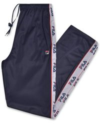 Fila S Big and Tall Track Pants with Logo Taping Down Legs - Blu