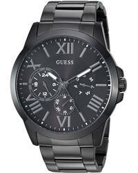 Guess Stainless Steel Black Ionic Plated Bracelet Watch with Day - Nero