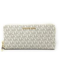Michael Kors Jet Set Travel Continental Zip Around Leather Wallet Wristlet - Multicolore