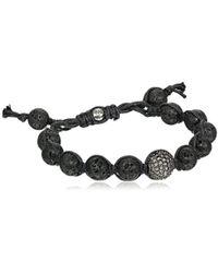 Tai - Black Lava Beads With Pave Swarovski Clear Crystal Ball Bracelet - Lyst