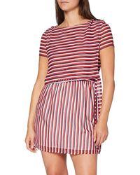 Tommy Hilfiger Tjw Tie Waist Stripe Dress Vestito - Rosso