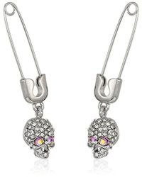 Betsey Johnson - Safety Pin With Skull Drop Earrings, Pink - Lyst