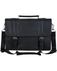 "Ben Sherman Leather Double Compartment 15"" Flapover Laptop Business Portfolio - Black"
