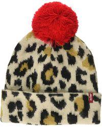 Levi's Leopard Beanie Bonnet - Marron