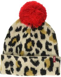 Levi's Leopard Beanie Cuffia - Marrone