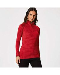 Regatta S Yonder Quick Drying Zip Neck Wicking Long Sleeve Top T-shirts/polos/vests - Red