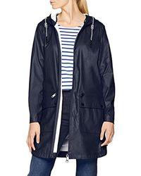 Tom Tailor Damen Trendy Regenmantel mit Kaputze Regenjacke - Blau
