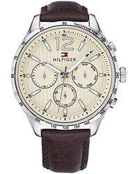 Tommy Hilfiger - Gavin Stainless Steel Quartz Watch With Leather Calfskin Strap, Brown, 20 (model: 1791467 - Lyst