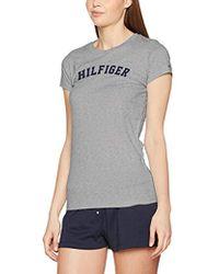 Tommy Hilfiger SS tee Print Top de Pijama para Mujer - Gris