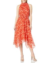 Sam Edelman Smocked Midi Handkerchief Dress - Red