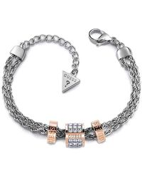 Guess Bracelet en Acier Bicolore et Cristal - Métallisé