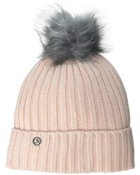 Calvin Klein Racer Stripe Ribbed POM Beanie Kopfbedeckung - Mehrfarbig
