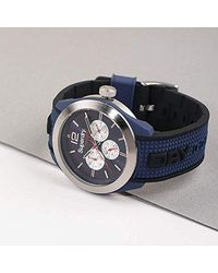 Superdry Reloj Analógico para Hombre de Cuarzo con Correa en Silicona SYG215UB - Azul
