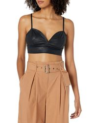 The Drop Cristina Fitted Leather Look Bra Top - Black