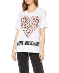 Love Moschino Animalier Printed Heart T-Shirt - Weiß