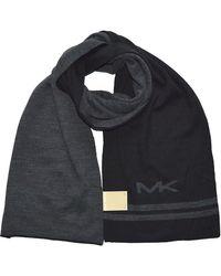 Michael Kors Big MK Bottom Stripe Knit Muffler Scarf - Schwarz