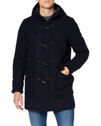 Superdry Wool Duffle Coat teau en Laine - Bleu