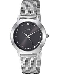 Guess Stainless Steel Japanese Quartz Watch With Leather Strap, Brown, 16 (model: U0884l9) - Metallic