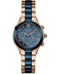 Guess Gc Collection Rose Blue Watch Y30003l7 Gold - Blau