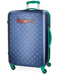 Pepe Jeans Liberty Blue Medium Suitcase 45.5 X 67 X 26.5 Cm Rigid Tsa Lock 68 Litre 3.9 Kg 4 Wheels