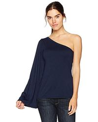 Three Dots Refined Jersey One Shoulder Loose Mid Shirt - Blue