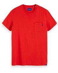 Scotch & Soda Ams Blauw Classic Pocket Tee T-Shirt - Rosso