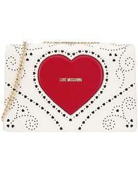 Love Moschino - Borsa bianco traforato cuore rosso logo centrale - Lyst