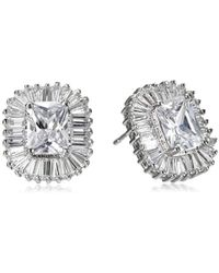 "CZ by Kenneth Jay Lane - ""basic"" Multi-cubic Zirconia Pierced With Ballerina Halo Stud Earrings (5cttw) - Lyst"