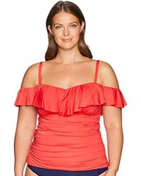 Kenneth Cole Reaction Plus Size Ready Solid Ruffle Tankini Swimsuit Top - Red