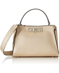 Guess Uptown Chic TURNLOCK Satchel - Metálico