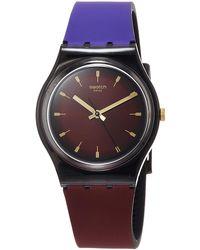 Swatch Analog Quarz Uhr mit Silikon Armband GB308 - Mehrfarbig