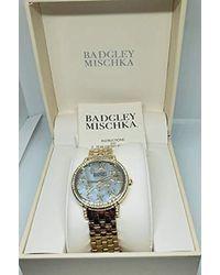Badgley Mischka Ba/1390gmgb Swarovski Crystal Accented Gold-tone Bracelet Watch - Metallic
